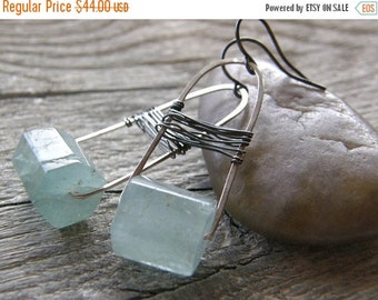 Summer Sale RESERVED FOR ALEX - Aquamarine Metalwork Earrings, Aqua Blue Swing Earrings, Mixed Sterling Modern Earrings