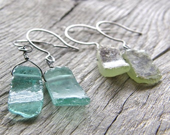 Antique Roman Glass Earrings, Recycled Old Aqua and Green Glass Earrings