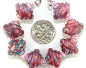 Lampwork Bead Set, Translucent Pink, pale blue, mint green and white Murano Glass Baroque lampwork beads, Made to Order, Bims Bangles