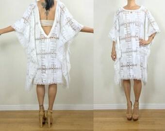 Vtg Upcycled White Floral Border Lace Romantic Fringe Boho Resort Wedding Backless Caftan Dress S/M