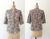 1970s blouse / vintage floral blouse / Peach Poppy blouse
