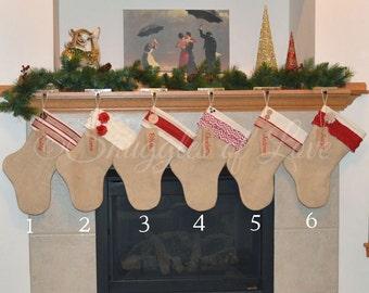 Personalized Burlap Stocking Set - SET of 6 STOCKINGS, Personalized Burlap Christmas Stockings, Red and Cream Burlap Stocking Set of 6