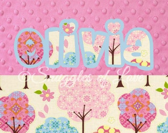 Personalized Girls Blanket - Girls Personalized Baby Blanket - Trees in Cream Blanket - Pink and Aqua Trees, Nature Blanket - Name Blanket