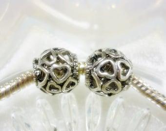 Open Heart European Silver Bead,New Design Open Heart Bead