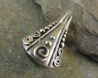 Large Ornate Sterling Silver Cone Finding - One Piece - cloc