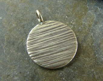 Textured Disk Pendant - Fine Silver Charms - Round Pendant - Hill Tribe Fine Silver findings - ptdhtfs