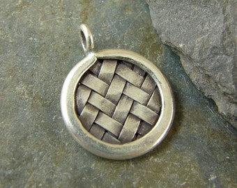 Hill Tribe Fine Silver Woven Round Pendant - Woven Charm - Hill Tribe Findings - One Piece - pwdhtfs