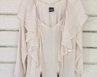 VINTAGE 70s GAUZE bohemian draped top with wooden beads