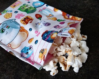 Shopkins Reusable Snack Bag Eco Friendly / 2 sizes / Choice of Lining