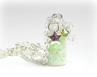 Bottle Necklace, Glitter Necklace, Stardust Necklace Green, Charm Necklace,  Girls Necklace, Swarovski Crystal Necklace