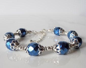Blue Bridesmaid Bracelet, Metallic Bead Jewelry, Holiday Fashion, Gift for Bridesmaid, Blue Bracelet, Glass Bead Jewelry, Horizon Blue