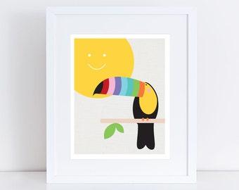 toucan art print - topical bird, jungle nursery, sun colourful, children kids baby girl or boy, gender neutral, rainbow bright, nursery art