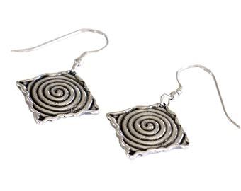 Diamond Shaped Handmade Earrings, Sterling Silver Earrings, Unique Women Earrings, Israel Jewelry, Blackened Silver Spiral Design Earrings