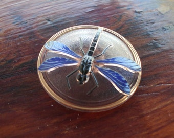 Big Blue Dragonfly Czech Glass Vintage Shank Button for Sewing, Crafting