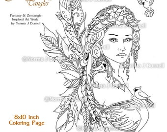cardinals fairy tangles adult printable coloring book pages by norma burnell 8x10 digital coloring book sheets fairies and birds to color
