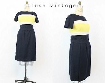 60s Silk Dress Large / 1960s Vintage Stripe Blouse and Dress / Mi Amour Dress