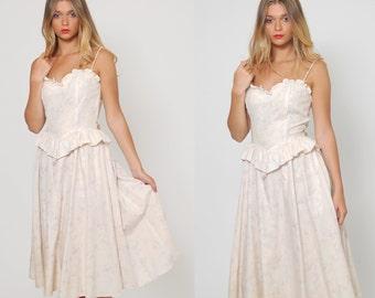 Vintage 70s FLORAL Prairie Dress Ivory Ruffle CORSET Dress SWEETHEART Hippie Dress Peplum Midi Dress
