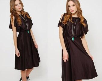 Vintage 70s Black FLUTTER Sleeve Dress BLOUSON Midi Dress CAPELET Boho Dress