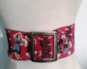 1940s Vintage Wide German Or Austrian Inspired Cinch Belt