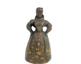 Vintage Bell Queen of Hearts Elizabethan Costume Cast Metal Ringer Mid Century Home Decor Lady Woman Figurine PeachyChicBoutique