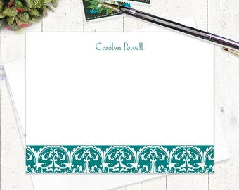 personalized note cards stationery set - CLASSIC ORNAMENTAL - set of 12 flat cards - stationary - fancy