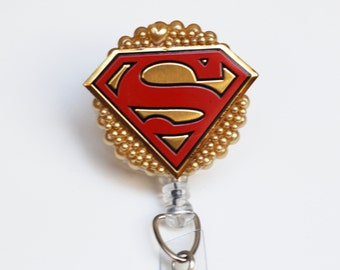 Superman Logo ID Badge Reel - Retractable ID Badge Holder - Zipperedheart