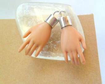 Crazy Creepy Hands, Sterling Bezel, Earring or Charm Findings