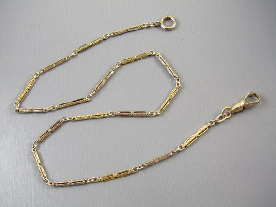 Signed JF Sturdy vintage Art Deco yellow and white gold filled two tone pocket watch chain 14-1/2 inch j372