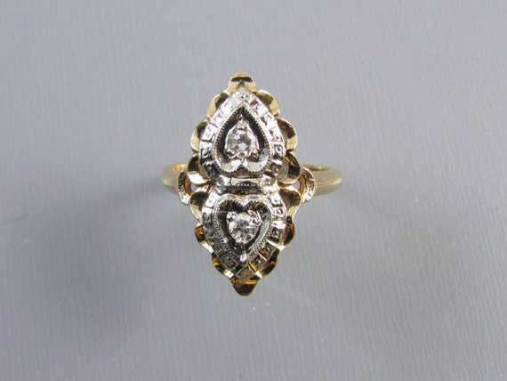 Vintage Art Deco 14k white and yellow gold diamond hearts PINKY or MIDI navette ring size 3-1/2