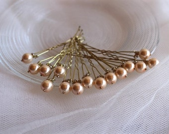 Bridal Wedding Pearl Hair Pins Set in Pale Pink (5). Ready to ship.