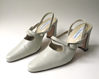 vintage Luciano Barachini Eggshell Leather Cross Strap Sling Back Pumps NOS / made in Italy