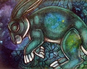 "Original ""Moondreams"" Rabbit Painting by Lynnette Shelley"