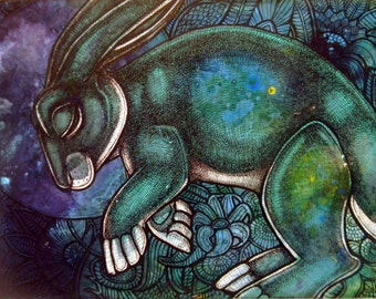 "Original ""Moondreams"" Rabbit Painting by Lynnette Shelley"