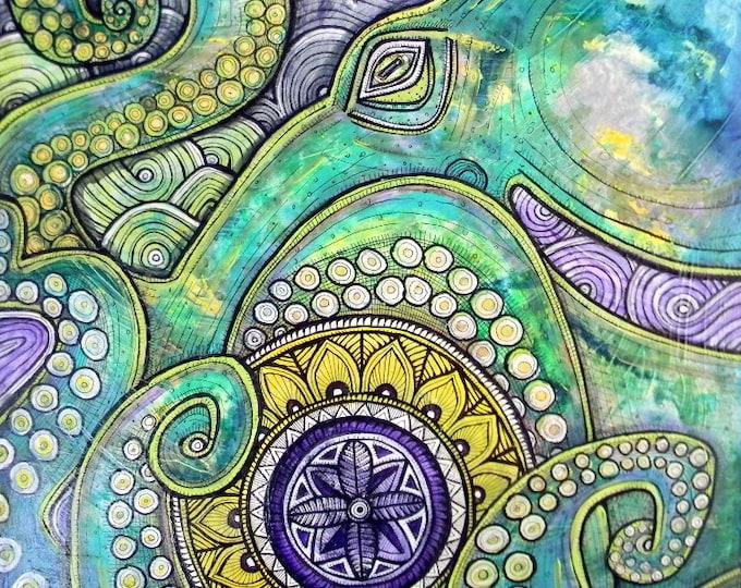 Original Cosmic Octopus Mandala Art by Lynnette Shelley