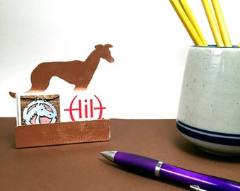 Whippet Business Card Holder, Copper Desk Accessory, Whippet gifts for dog lover Whippet items, dog gifts