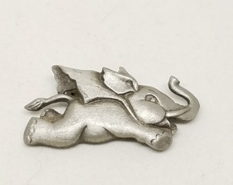Vintage Pewter Flying Elephant Pin with Cape