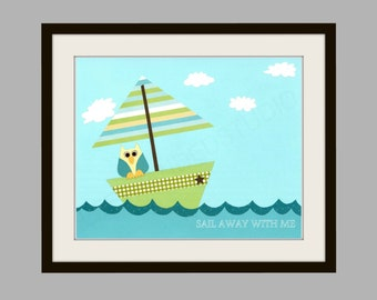 FREE SHIPPING- Nursery Art Print, Childrens Art Print, Boat, Nautical, Owl, Baby Shower, Baby Boy, 8x10 Art Print, Personalized