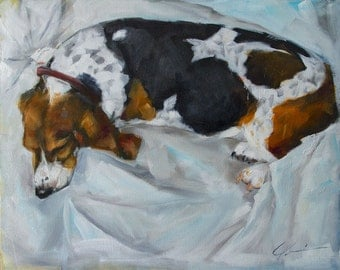 Sleeping Basset Hound on White Background Large Original Painting by Clair Hartmann