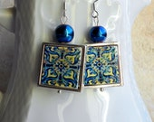 Portugal Antique Azulejo Tile 925 SILVER FRAMED Earrings from the AVEIRO Santa Joana Convent 1458, Waterproof and Reversible 704 Silver