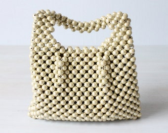 Vintage Pearl Beaded Handbag Clutch Purse / Beaded Handbag / Beaded Purse / 1960s Handbag