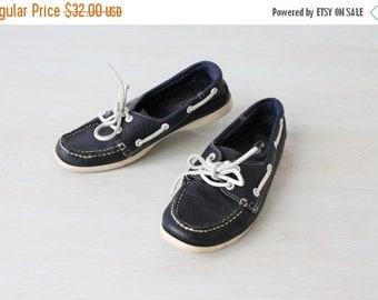 SALE Boat Shoes / Womens / Navy / Leather / Allen and Polly / Size 7