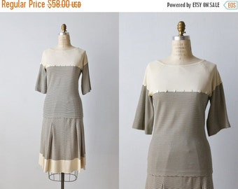 SALE Vintage 1970s Italian Knit Dress Set / Matching Top And Skirt Set / Knit Dress / Black and White Striped