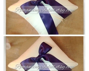 Simple Elegance Luxe Bow Ring Bearer Pillow...You Choose Your Colors..SET OF 2..shown in ivory/eggplant purple