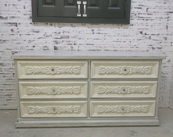 Double Dresser, Distressed White & Grey Cottage Style - DR907 Shabby Farmhouse Chic