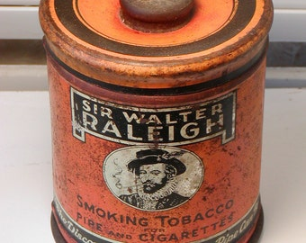 Large Vintage SIR WALTER RALEIGH Tobacco Tin Round Can Pipe Cigarettes