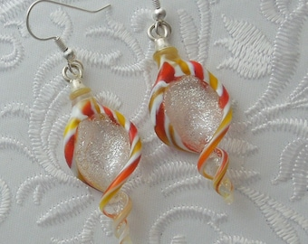 Dichroic Fused Glass Lampwork Twisty Earrings - Christmas Earrings - Christmas Ornament - Christmas Candy - Bohemian Earrings - Boho 1233