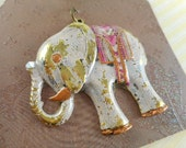 Elephant Pendant - Antique Gold - Hand Painted - Creamy Pale Pink - Dry Gulch 66458