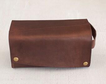 Brown Leather Dopp Kit/Toiletry Bag