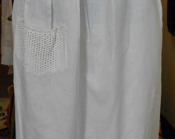 1890's, adjustable waist, full length cotton broadcloth white apron.