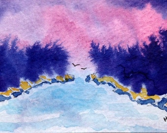 Original Watercolor ACEO Art Card, Pink, Purple Sky over Evergreens, Water